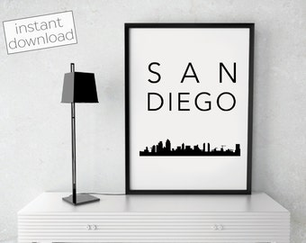 San Diego Print, San Diego Skyline, San Diego Poster, Printable Art, Instant Download, San Diego Wall Art, Cityscape Art, Typography Poster
