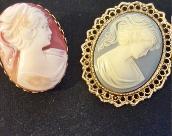 2 Antique Cameo Brooches, beautiful Authentic Vintage design..2 Brooches for one price