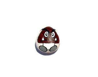 Hand Painted Rock, Super Mario Goomba, Super Mario, Nintendo, Gamer, Video Game, Rock, Hand Painted