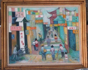 Chinatown, NYC-Lg American Oil-1950's-By Well Known NYC Artist Sue Kleinman