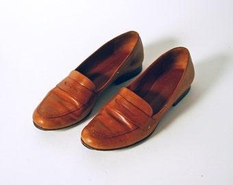 Ralph Lauren Sz 8 Vintage 90s Red - Brown Loafers