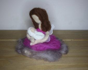 Needle felt fairy mummy and her baby