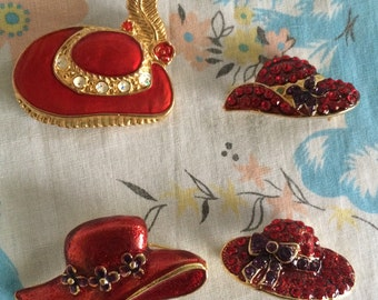 Vintage Red hat society brooches - set of 4