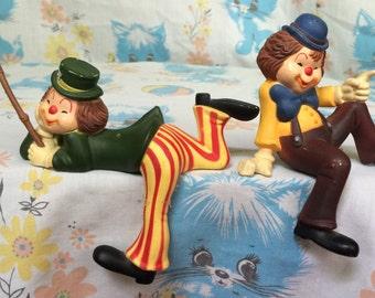 Vintage Enesco clown figurines - shelf sitter - over the edge - hallmark collection