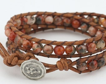 Double wrap, leather wrap, bracelet, beaded bracelet, leather bracelet, agate stones,