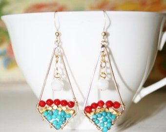 Triangle Earrings with Semi Precious Stones and Milk White Beads