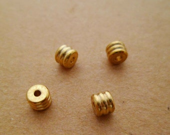 60pcs High-quality Solid Raw Brass Geometry Round Rondelle Spacer Beads with 3 Lines 0101-0512