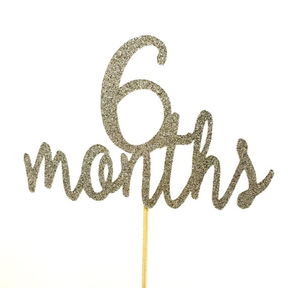 Gold Glitter 6 Months Birthday Cake Topper Half By