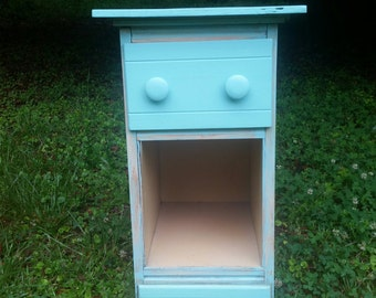 Cute vintage turquoise shabby chic nightstand