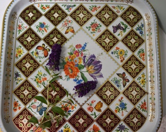 Large Daher metal tray: Flowers, butterflies and brown/ gold diamonds design. Serving or decorative metal tray. made in england