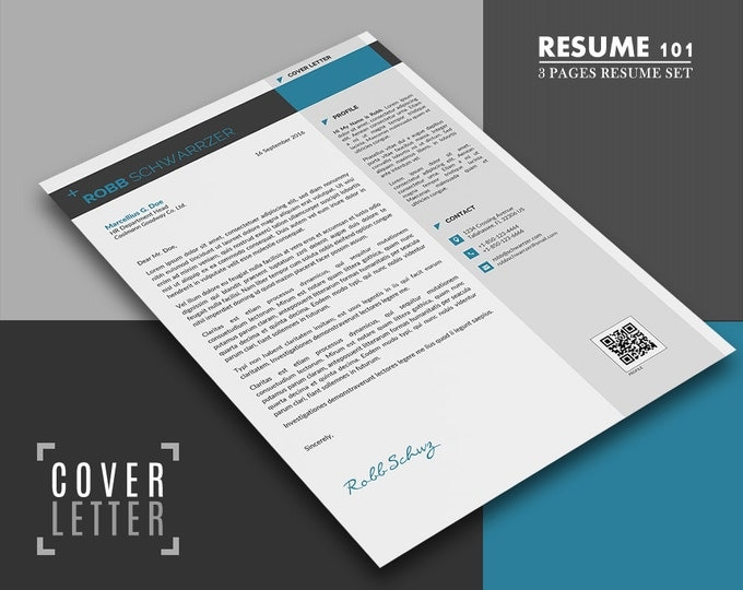 cv template cover letter template 3 pages modern word resume design creative and