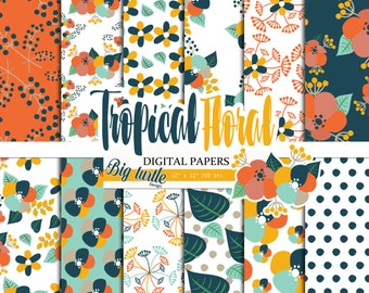 60% OFF SALE  Tropical Floral digital paper Pack, Floral digital paper, Scrapbook Paper , Printable Background ,Tropical patterns, 12 JPG.