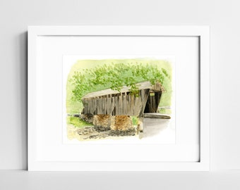 Covered Bridge Watercolor Art Print | Rustic Wall Art | Asheboro NC