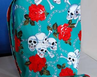Womens Handbag Skull & Roses Hipster bag