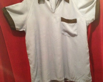 1950's Vintage Gabardine Shirt / Blue with black trim / Bowling Shirt Design / Lon , New York, Paris London.