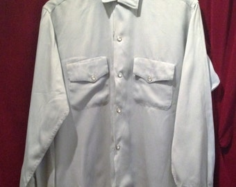 VINTAGE  1950's Rayon- gaberdine Western Shirt / Mother of Pearl Hexagon Shape Buttons  / 2-Front Pockets