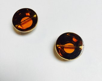 Vintage German Glass Pagoda Bead in Amber - 2 Pieces - #548