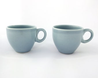 Russel Wright Iroquois SUPER RARE AD After Dinner Demitasse Coffee Cups in Ice Blue! 2 available