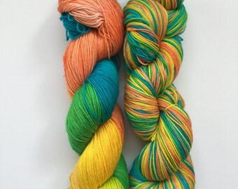 Mediterranean Splash Hand Dyed Sock Yarn 100g DYED TO ORDER