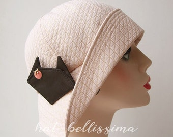 SALE pink 1920's  Cloche Hat cat Vintage Style hat ladies' and misses' hats millinery hatbellissima