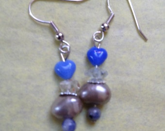 Blue hearts & pearl earrings