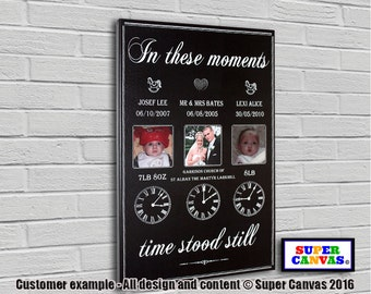 In These Moments personalised bespoke framed Canvas Print with pictures