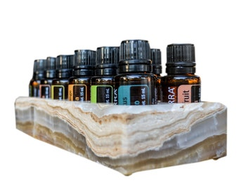 Luxurious Essential Oil Holder Case - 100% Onyx Marble - Free Tray - Holds 12, 15ml Bottles - Storage And Display for Your Oils