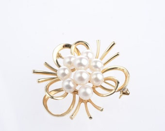 14K Vintage Mikimoto Cultured Pearl Brooch