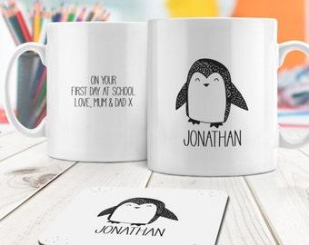 Master Penguin Personalised Mug and Coaster Set