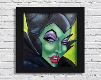 Maleficent Art Print Disney Painting Sleeping Beauty Fairy Tale Print