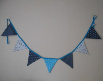 Garland of 7 pennants in taupe and turquoise tones