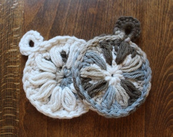 Two, 100% Cotton, Crocheted Face Scrubbies - Variegated Blue, Brown, and Cream