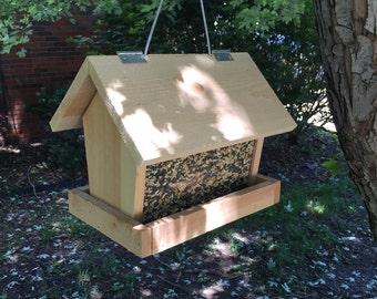 Handmade Solid Wood Cedar Bird Feeder, Cedar Bird Feeder, Hanging Bird Feeder