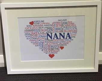 Personalised framed Nan heart shape word art print