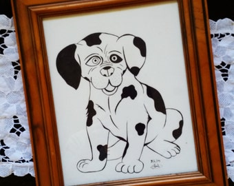 Black and White Puppy Print