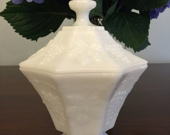 Anchor Hocking Fire King Milk Glass Urn with Lid