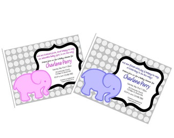 Printable Pink or Blue Elephant Baby Shower Invite