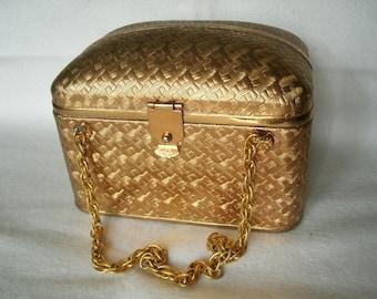 Gold Vintage Metal Box Purse