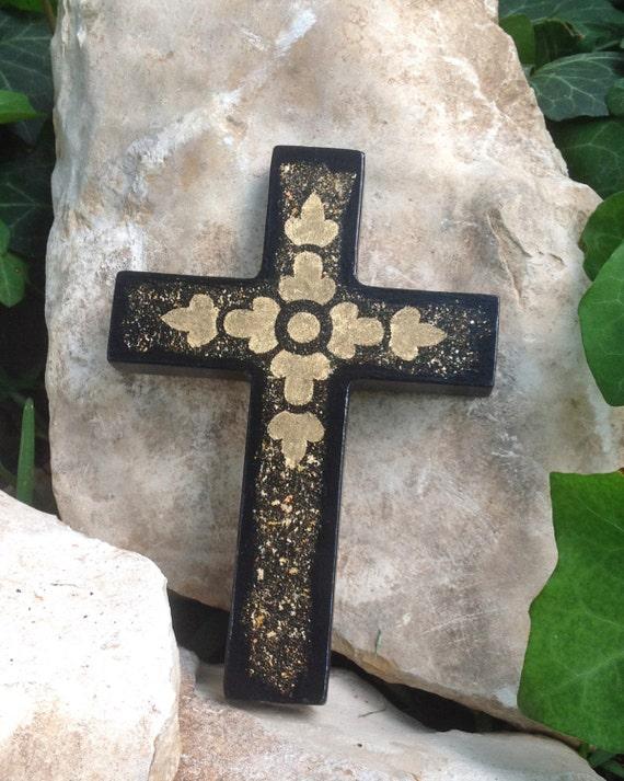 Gold Cross Wall Decor : Decorative black wall cross with gold leaf elegant