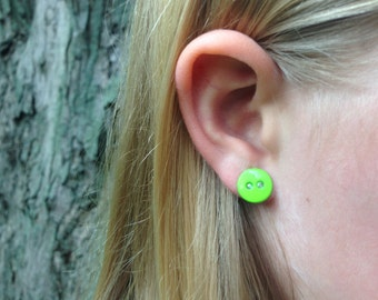 Lime Green Button Earrings