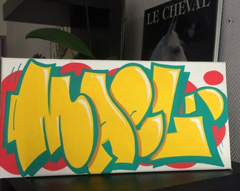 custom graffiti name painting canvas