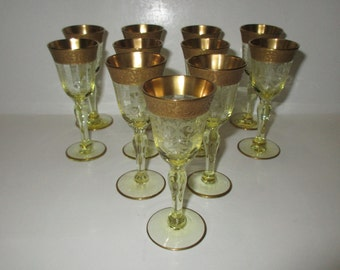 tiffin glass etched gold band yellow cordials set