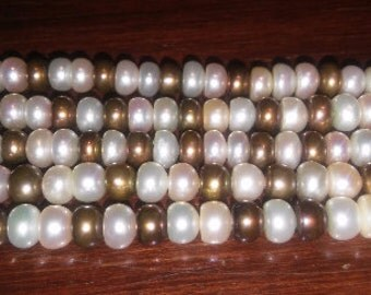 SALE! Button pearls pearl beads multicolored pearls off white pearls bronze pearls