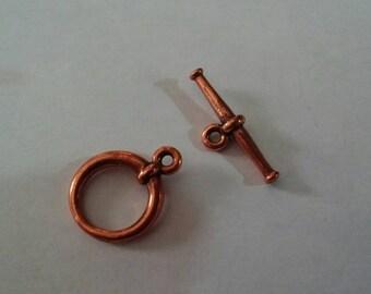 SALE! Tierra cast clasp toggle clasp copper plated clasp copper toggle clasp pewter toggle clasp American made clasp lead free clasp