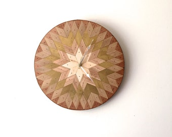 Starburst Wall Clock with Salvaged Wood and Antique Gold Detail