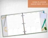 Printable Planner Week View_Hourly Layout 8.5x11