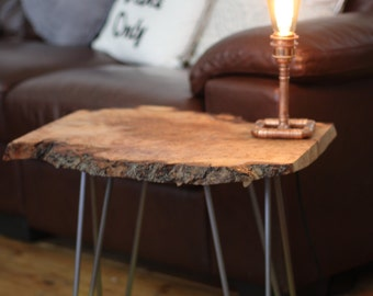 Side/end table reclaimed elm slab with steel hairpin legs