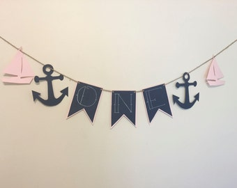 Sailor First Birthday Banner- Girl