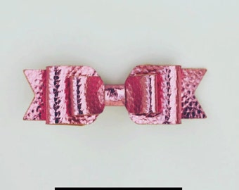 Double Hair Bow - Faux Leather - Metalic Pink - Handmade, Limited Edition