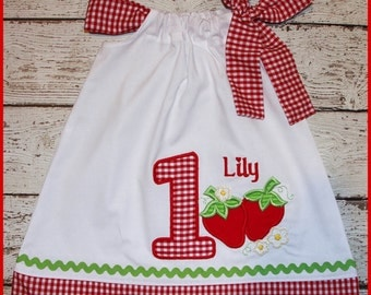 Sweet Strawberry Birthday Pillowcase style dress name and age included red gingham country Strawberry dress Matching Hair Bow avaliable